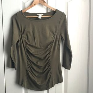 Sundance Olive Green Rouched Top Sz Medium